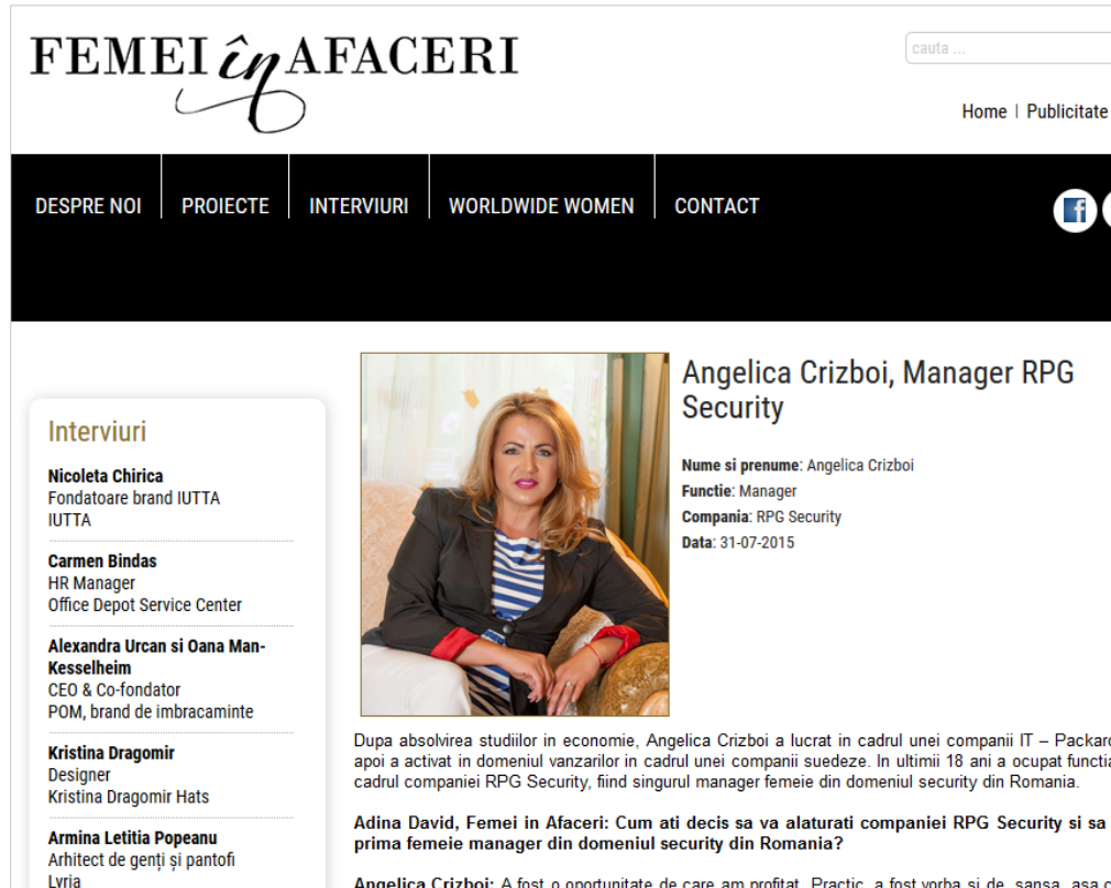 Interviu Angelica Crizboi, Manager RPG Security